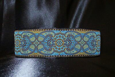 Renaissance Turquoise Blue 1.5 or 2 Inch Martingale Dog Collar Free Custom Size (Renaissance Customes)