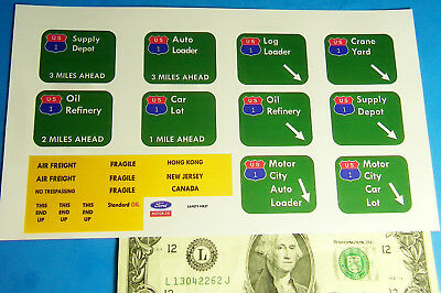 Highway Construction Signs - HO TYCO US-1 TRUCKING Slot Car Highway Construction STICKER Signs REPRODUCTION B
