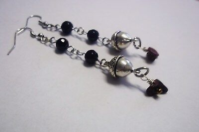 Acorn Black Glass and Red Jasper Gemstone Hook Earrings