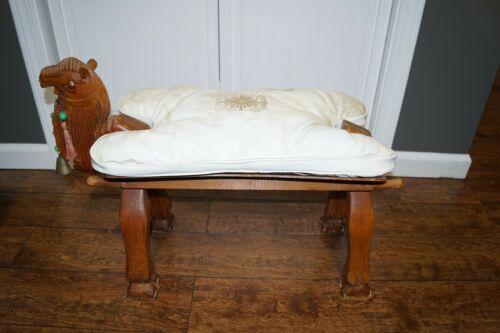 Vintage Camel Saddle Stool with Pad