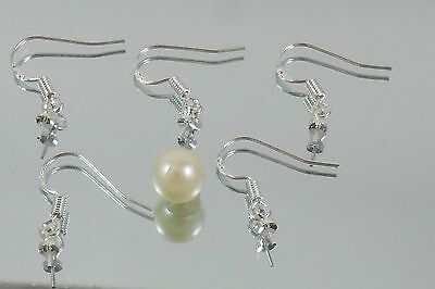 925 stamped pure Silver plated Earring Findings making Hook pin Half drilled