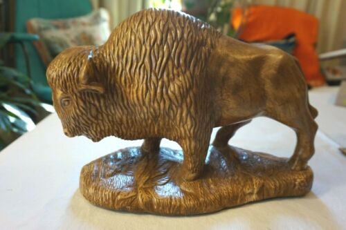 Vintage Ceramic Buffalo Bison Figurine - LARGE - Old West Decor