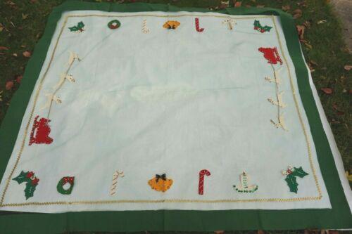 Vintage Christmas Tablecloth Netting Sequins Felt Excellent Santa Reindeer Tree