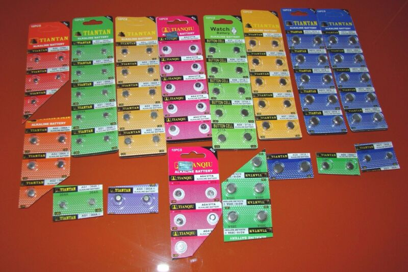100 Piece Watch Battery VALUE PACK 14 Popular numbers..EXTRA 377
