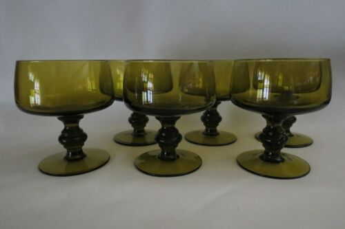 6 Imperial Glass Provincial Pattern 56 (Blown) Verde Green Cut 555 Goblets