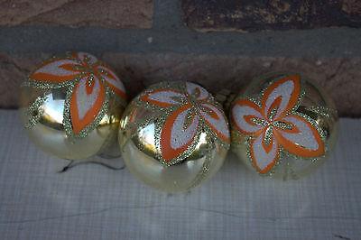 3 Weihnachtsbaumkugeln /Christbaumkugeln f. Weihnachten 70er Jahre-Design orange