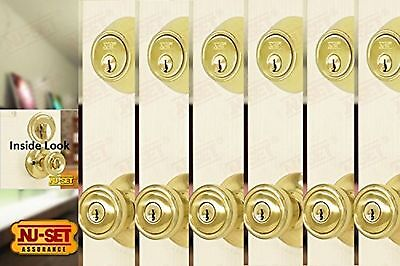 6 Sets of Contractor Same Keyed Entry Door Knob with Single Cylinder Deadbolt