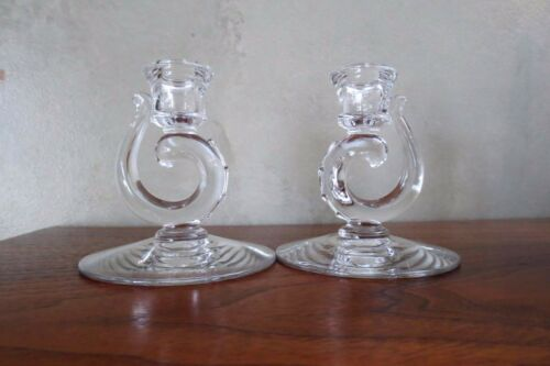 2 Fostoria Century Glass 4 1/2 inch Single Candle Sticks Mid Century