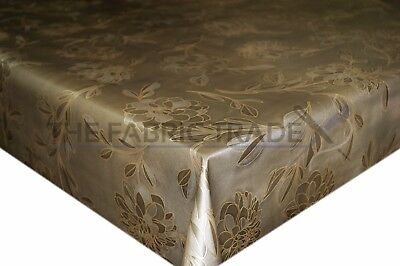 Gold / Bronze Rose Embossed PVC Tablecloth Vinyl Oilcloth Kitchen Dining Table