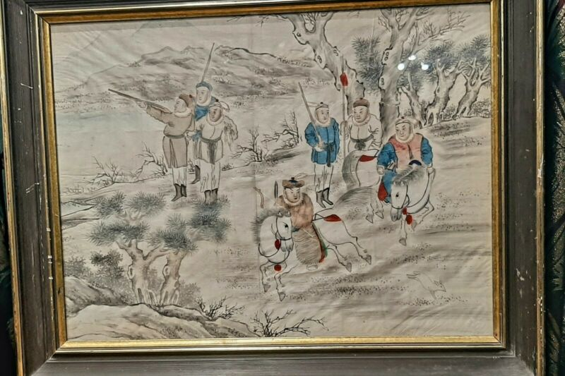 old large chinese antique painting chinese nobility on the hunt on silk