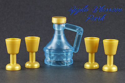 NEW Lego Minifig Trans BLUE JUG Gold Cups -Pirate Friends Food Wine Flask Bottle - Plastic Pirate Cups