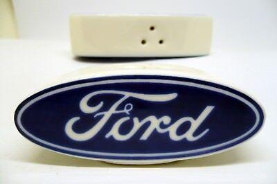Salt and Pepper Shaker Set Official Licensed Product Ford Logo Ceramic Oval  ()