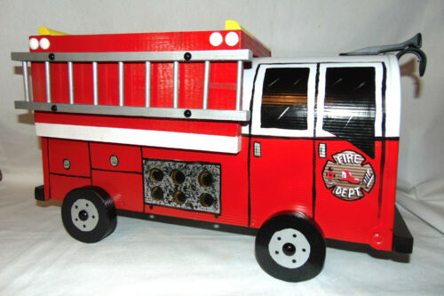 NEW RED FD. Hand Painted Fire Truck Mailbox Handpainted Firetruck Mail Box..