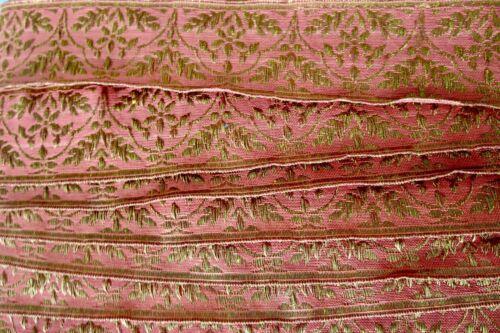 Antique 1920s Gold Metallic Thread Orange Silk Trim 1 3/4 Width Price Per Yard