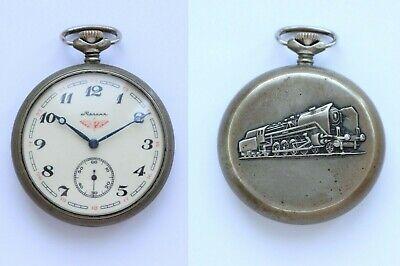 Original Soviet Russian USSR Wind Up Pocket Watch Molnija Molnia Molniya TRAIN
