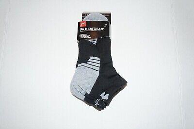 3 Under Armour Low Cut Socks UA Heatgear Black Training Men' Size 4-8 Women 6-9