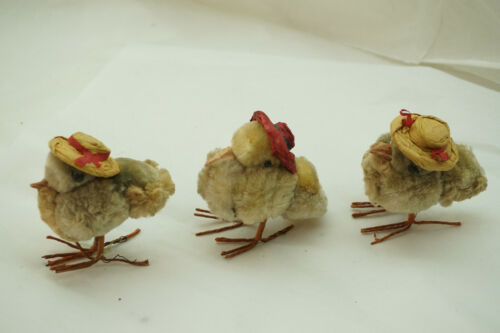 VINTAGE CHENILLE EASTER CHICKS LOT OF 3 OCCUPIED JAPAN LADIES IN EASTER HATS