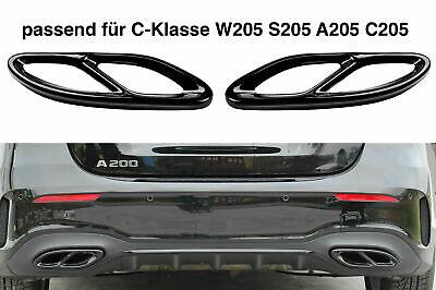 Set Schwarz Chrom Edelstahl Auspuffblende Abdeckung für Mercedes W205 S205 C205