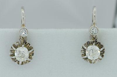 Antique (ca. 1925), 14K White Gold, European Cut Diamond Earrings (.58ct+/- twt)