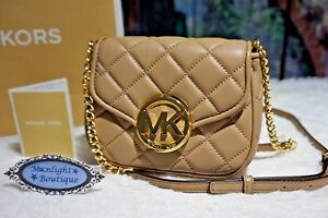 NWT Michael Kors FULTON QUILT SMALL Flap Cross-body Bag DARK KHAKI Leather $198