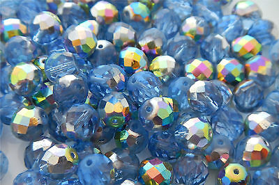 100 PCS-8mm CZECH GLASS FIRE POLISHED BEADS - LIGHT SAPPHIRE VITRAIL