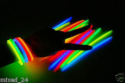 100x Knicklichter Leuchstäbe Glowsticks Neonstab Armreifen 5 Farben Party Neon