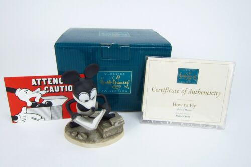 Walt Disney Collections Mickey Mouse How to Fly Plane Crazy Figurine w COA & Box