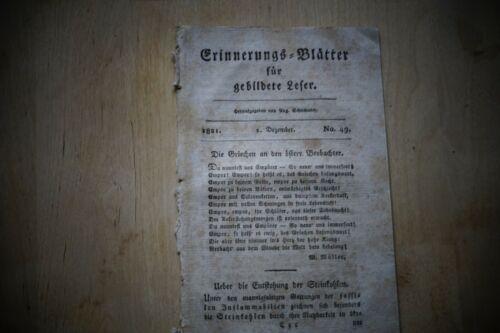 1821 Erinnerungsblätter 49 / Steinkohle / Gelbfieber Barcelona / Krieg Türkei