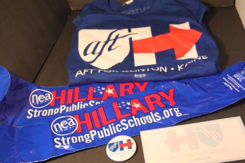 NWT Hillary Clinton T-shirt, Pin, Car Decal + More 2016 Teacher Democrat X-Large
