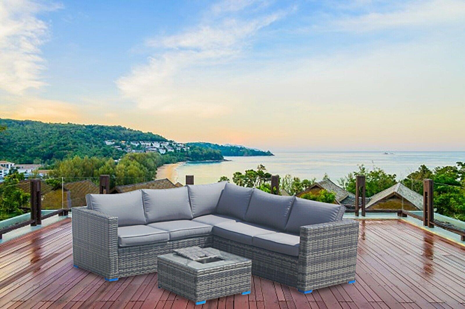 Garden Furniture - Outdoor Rattan Garden Furniture Corner Sofa Patio Lounge Grey With Ice Bucket