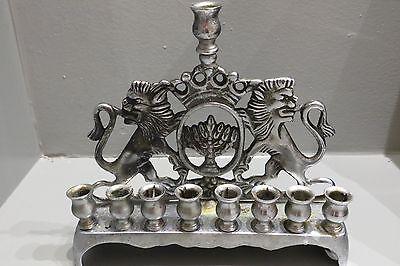 Antique Silver Metal Lions of Judah Hanukkah Menorah