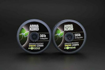Korda Arma 50m Kord Sinking Braided Coarse Fishing Shock Leader 30lb & 50lb