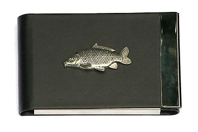 Common Carp Design Black Pu And Metal Business Or Credit Card Holder Gift 80