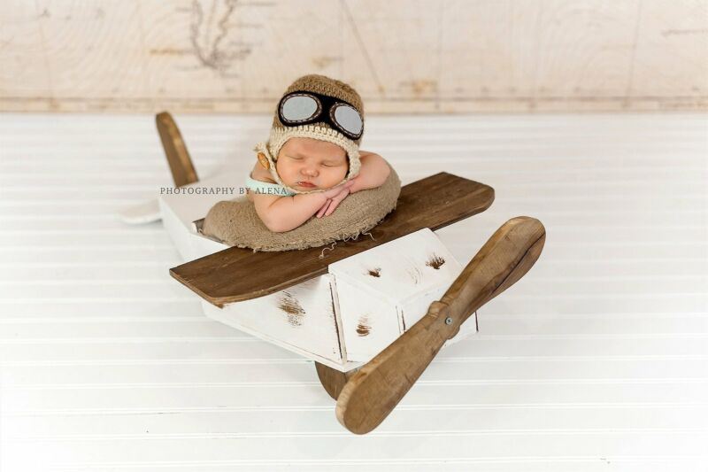Rustic Airplane Newborn Photography Prop - White