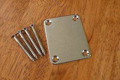 ELECTRIC GUITAR NECK PLATE CHROME FOUR BOLT FOR STRATOCASTER TELECASTER