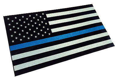 Police Officer Thin Blue Line reflective American Flag Decal Sticker 3.75x 2.25