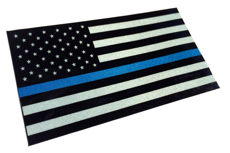 Police Officer Thin Blue Line reflective American Flag Decal Sticker 3.5 x 2
