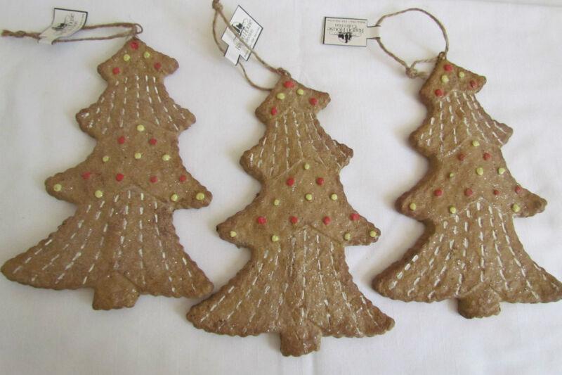 Gingerbread Tree Ornament  Ragon House 3pc set Primitive style NEW Christmas