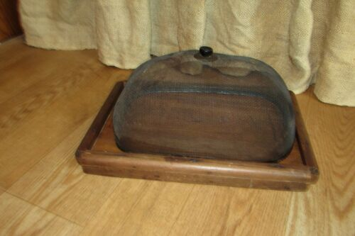 Antique Primitive Bread Wooden Cutting Board with Wire Basket for Cooling #1204