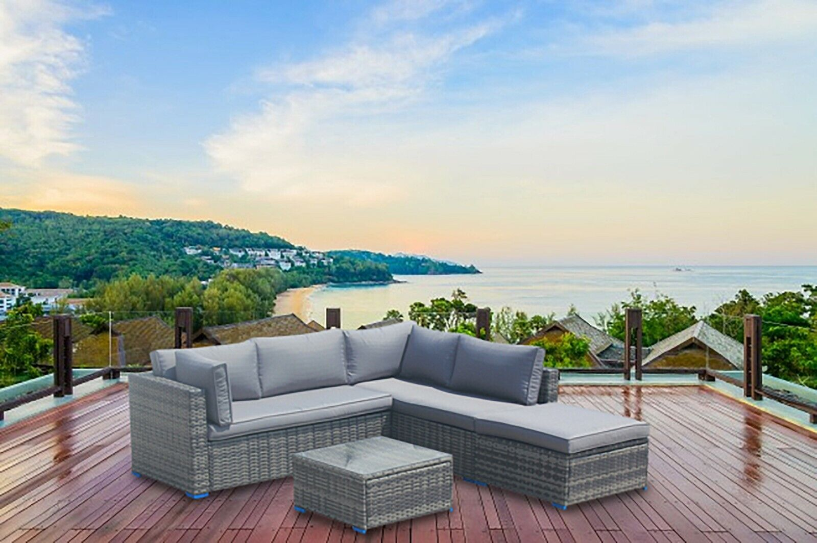 Garden Furniture - Outdoor Rattan Corner Sofa Set Garden Furniture Savcan Patio With Footstool