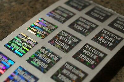 Qty 100 .5 Inch Square Custom White Printed Silver Hologram Tamper Evident Label