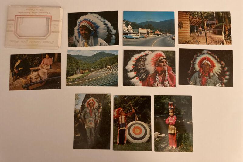Cherokee Indian reservation North Carolina 10 view color photo souvenir WM Cline