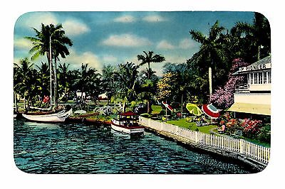 Fort Lauderdale Florida Postcard A Bit of Venice Boats Palm Trees Canal Pioneer