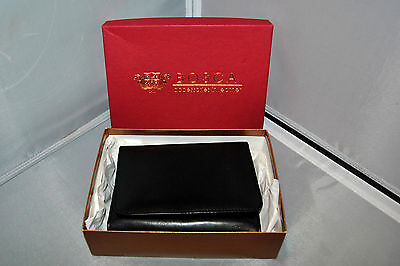 Bosca Nappa Vitello Black Leather Notebook Credit Cards Valet Portfolio NEW