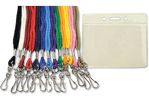 25-NECK-Lanyards-Badge-Holders-LOT-13-colors-2-styles