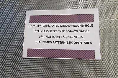 14 Holes--20 Ga. 304 Stainless Steel Perforated Sheet 5 X 23