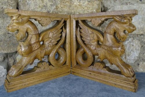 Pair French Antique Carved Oak Wood Griffins Cabinet Supports Chimera Corbels