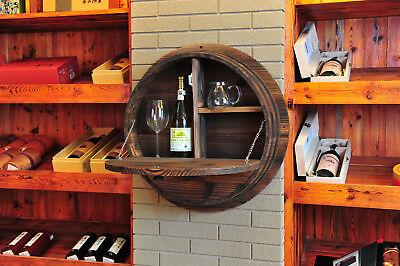 Holzfass Wandregal aus Massivholz aufklappbares Holzregal rustikales Weinregal  (Rustikale Regale Wand)