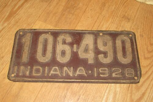 Antique Vintage 1928 Indiana License Plate   #1420OFF