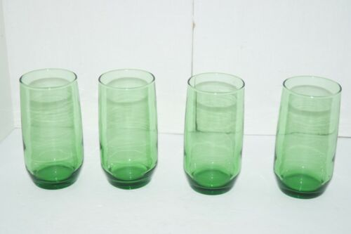 VINTAGE ANCHOR HOCKING DRINKING GLASSES GREEN LOT OF 4